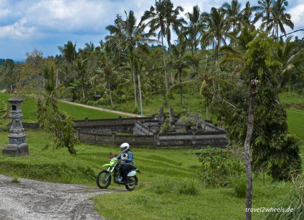 Indonesische Tempel sind nicht unbedingt mit unseren zu vergleichen - vor allem sind sie überall: hier ein Wassertempel mitten im Reisfeld.